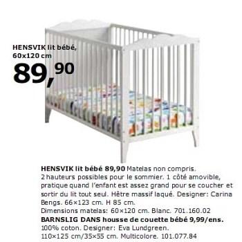Produit Maison Ikea Hensvik Lit Bebe En Promotion Chez Ikea