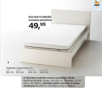 Produit Maison Ikea Sultan Florvag Matelas Polyether En Promotion Chez Ikea