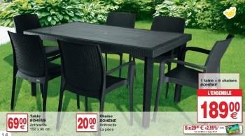 1 table 6 chaises boheme