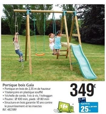 Produit Maison Carrefour Portique Bois Gaia En Promotion Chez Carrefour