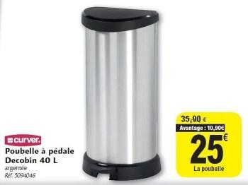 Promotion Carrefour Poubelle A Pedale Decobin 40 L Curver Menage Valide Jusqua 4 Promobutler