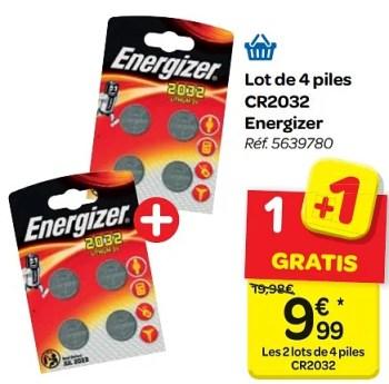 Promotion Carrefour Lot De 4 Piles Cr2032 Energizer Energizer Bricolage Valide Jusqua 4 Promobutler