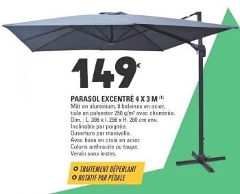 parasol excentre 4 x 3 m