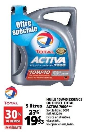 Total Huile 10w40 Essence Ou Diesel Total Activa 7000 En Promotion Chez Auchan Ronq