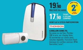Thomson Carillon Sans Fil En Promotion Chez E Leclerc