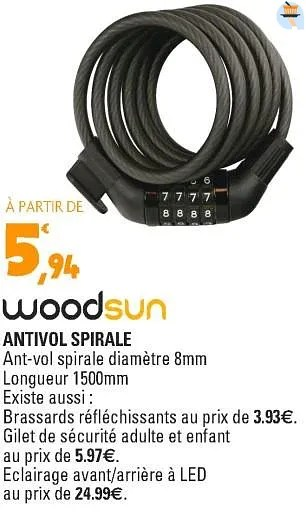 woodsun antivol spirale