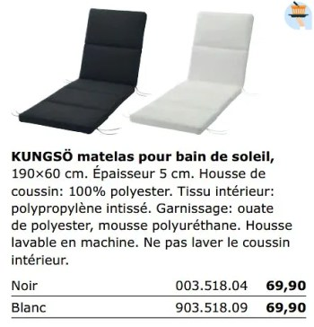 kungso coussin pour bain de soleil