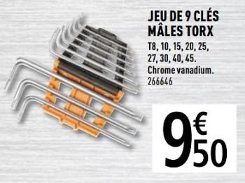Magnusson Jeu De 9 Cles Males Torx En Promotion Chez Brico Depot