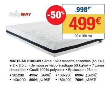 Swiss Way Matelas Edison En Promotion Chez Le Roi Du Matelas