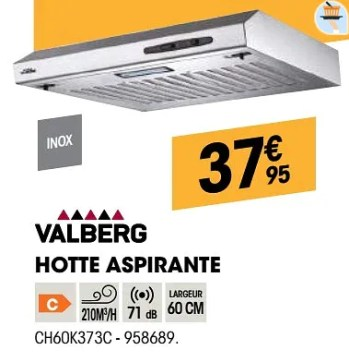 Valberg Valberg Hotte Aspirante Ch60k373c En Promotion Chez Electro Depot