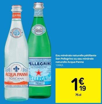 eau minerale naturelle petillante san pellegrino ou eau minerale naturelle acqua panna