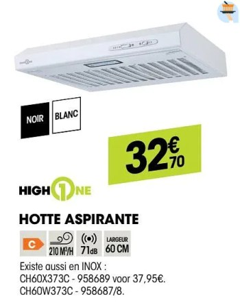 Highone Valberg Hotte Aspirante Ch60k373c En Promotion Chez Electro Depot