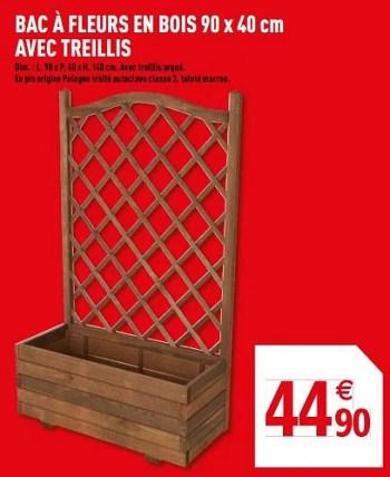 Produit Maison Brico Depot Bac A Fleurs En Bois Avec Treillis En Promotion Chez Brico Depot