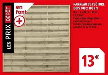 Produit Maison Brico Depot Panneau De Cloture Bois 180 X 180 Cm En Promotion Chez Brico Depot