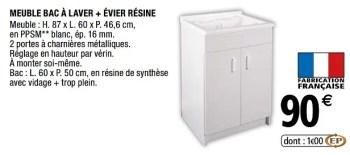 meuble bac a laver evier resine