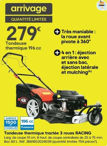 tondeuse thermique tractee 3 roues racing