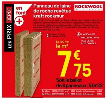 Promotion Brico Depot Panneau De Laine De Roche Revetue Kraft Rockmur Rockwool Construction Renovation Valide Jusqua 4 Promobutler