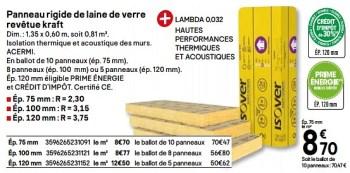 Promotion Brico Depot Panneau Rigide De Laine De Verre Revetue Kraft Isover Construction Renovation Valide Jusqua 4 Promobutler