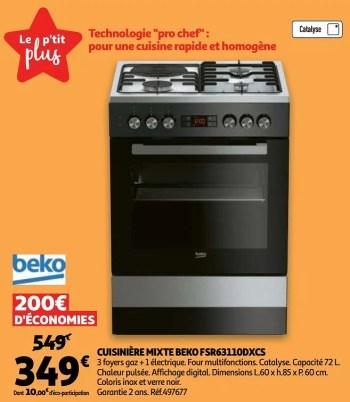 Promotion Auchan Ronq Cuisiniere Mixte Beko Fsr63110dxcs Beko Appareils Electriques Valide Jusqua 4 Promobutler
