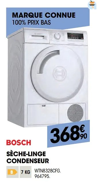 Promotion Electro Depot Bosch Seche Linge Condenseur Wtn8328cfg Bosch Appareils Electriques Valide Jusqua 4 Promobutler