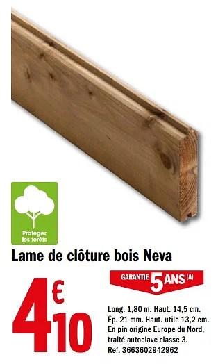 Produit Maison Brico Depot Lame De Cloture Bois Neva En Promotion Chez Brico Depot