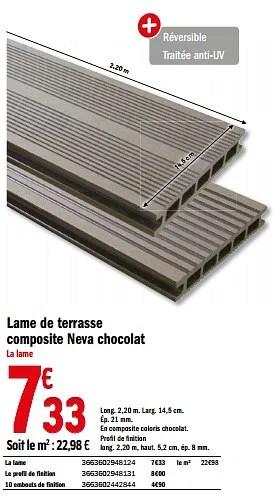Promotion Brico Depot Lame De Terrasse Composite Neva Chocolat Produit Maison Brico Depot Jardin Et Fleurs Valide Jusqua 4 Promobutler