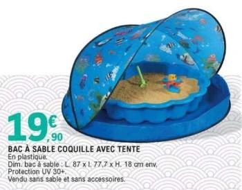 bac a sable coquille avec tente