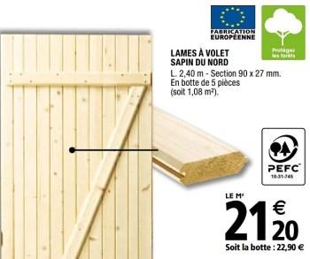 Produit Maison Brico Depot Lames A Volet Sapin Du Nord En Promotion Chez Brico Depot