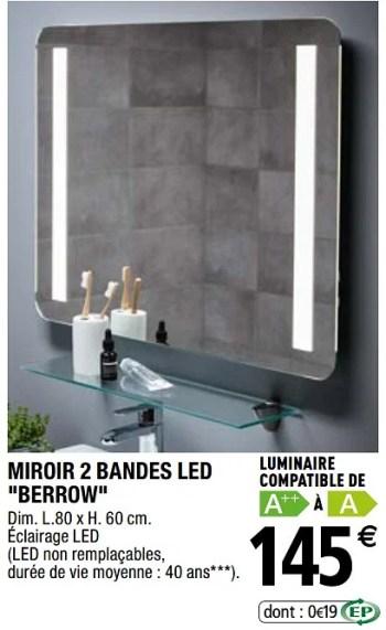 miroir 2 bandes led berrow