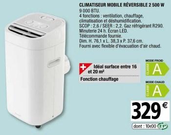 Goodhome Goodhome Climatiseur Mobile Reversible En Promotion Chez Brico Depot