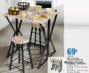 ensemble table haute extensible 2 tabourets