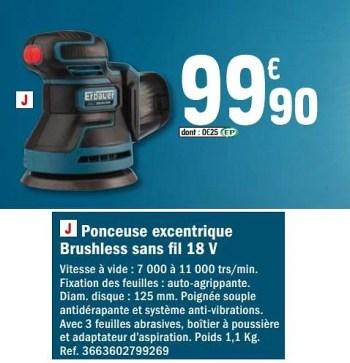 Promotion Brico Depot Erbauer Ponceuse Excentrique Brushless Sans Fil 18 V Erbauer Bricolage Valide Jusqua 4 Promobutler