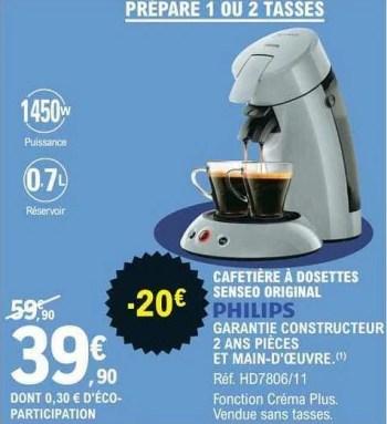 Philips Philips Cafetiere A Dosettes Senseo Original En Promotion Chez E Leclerc