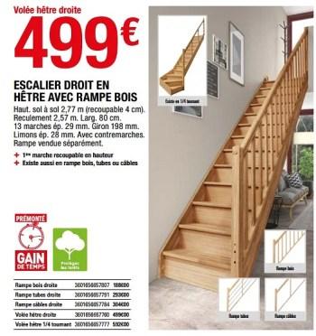 Produit Maison Brico Depot Escalier Droit En Hetre Avec Rampe Bois En Promotion Chez Brico Depot