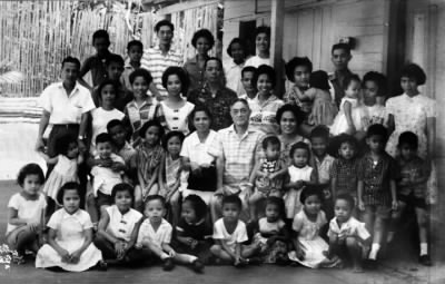 Manuel Maronilla Calleja and his clan in a family reunion held in Libon, Albay, Philippines, in the late 1950s (approx).