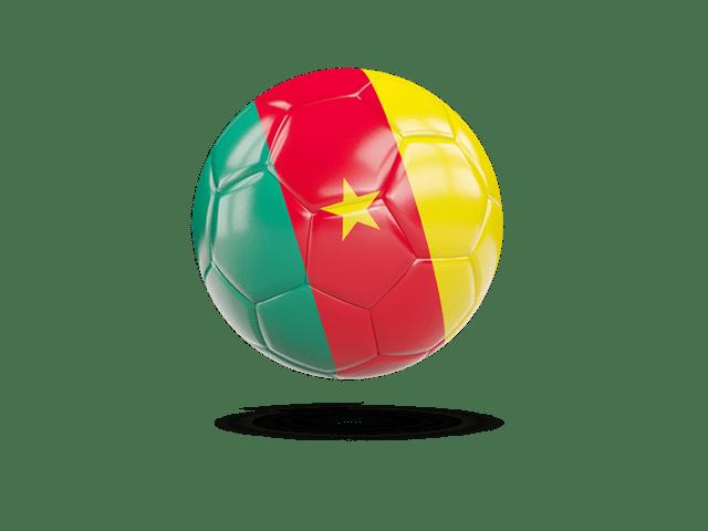 Glossy Soccer Ball. Illustration Of Flag Of Cameroon