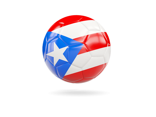 Glossy Soccer Ball. Illustration Of Flag Of Puerto Rico