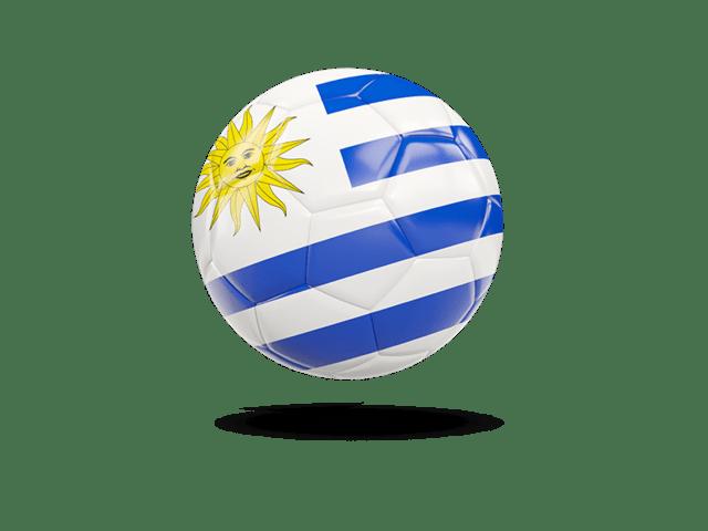 Glossy Soccer Ball. Illustration Of Flag Of Uruguay