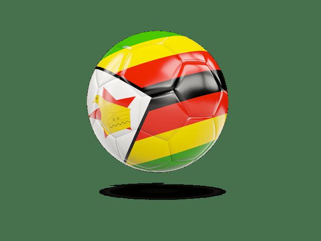 Glossy Soccer Ball. Illustration Of Flag Of Zimbabwe