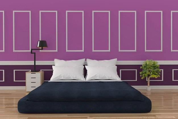 Premium Photo Minimalist Bedroom Loft Interior Design In Purple Wall And Wood Floor Room In 3d Rendering