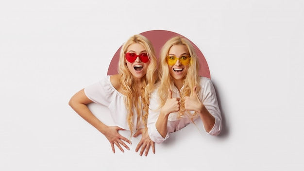 Portrait Of Two Young Happy Shocked Women In The Heart Shape
