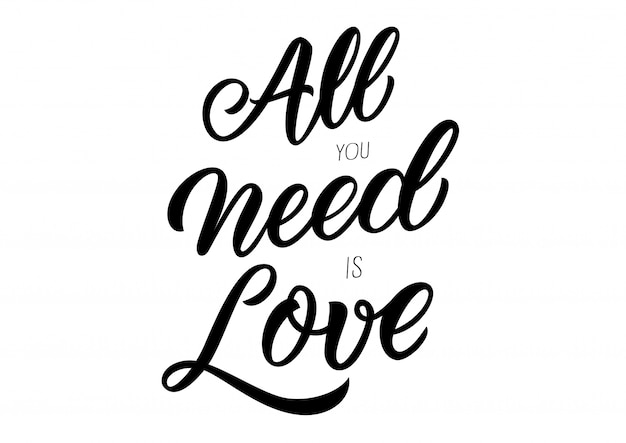 Download Lettering all you need is love   Free Vector