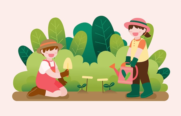 Free Vector | Big isolated cartoon character illustration of cute kids  gardening on garden out side home , flat illustration