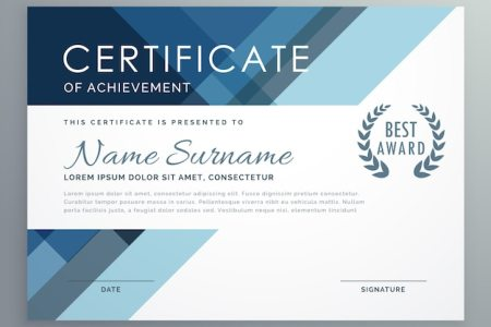 Certificate Vectors  Photos and PSD files   Free Download Blue certificate design in professional style