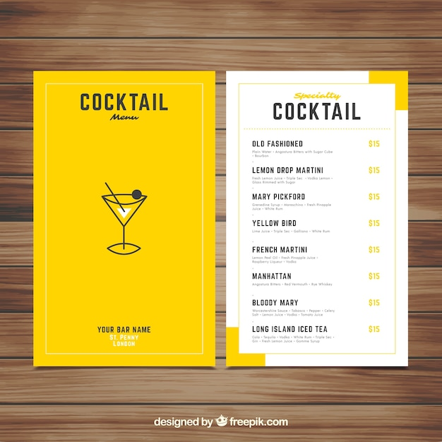 Free Cocktail Menu Template With Elegant Style Svg Dxf Eps
