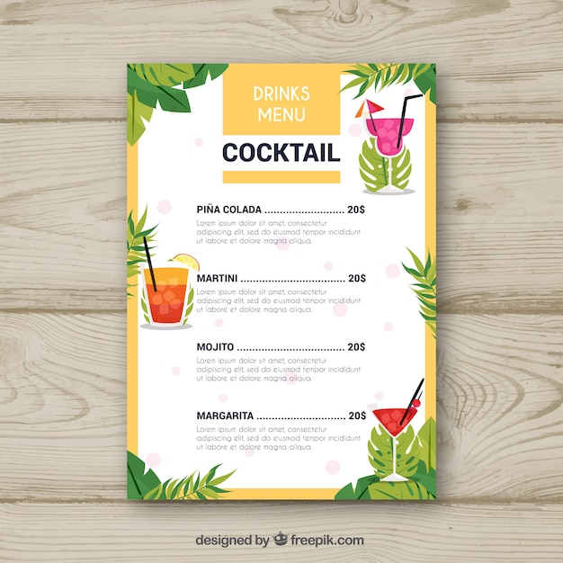 Free Cocktail Menu Template With Palm Leaves Svg Dxf Eps Png