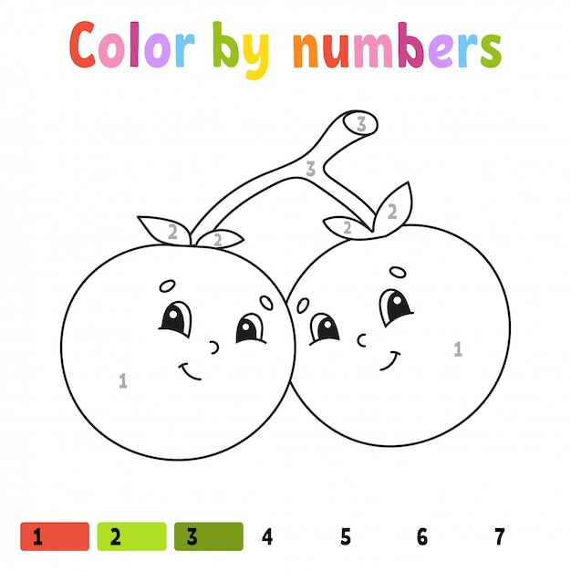 Premium Vector Color By Numbers Strawberry Coloring Book For Kids Food Character
