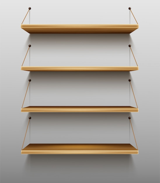 Free Vector Empty Wooden Shelves On White Wall