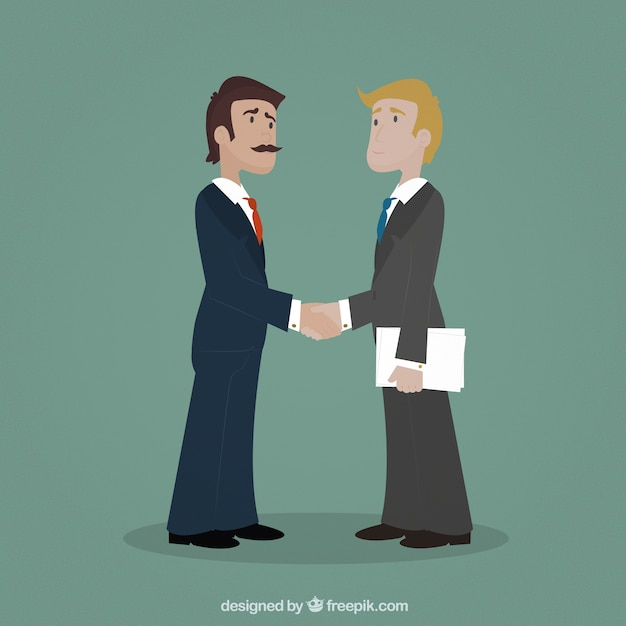 Entrepreneurs shaking hands