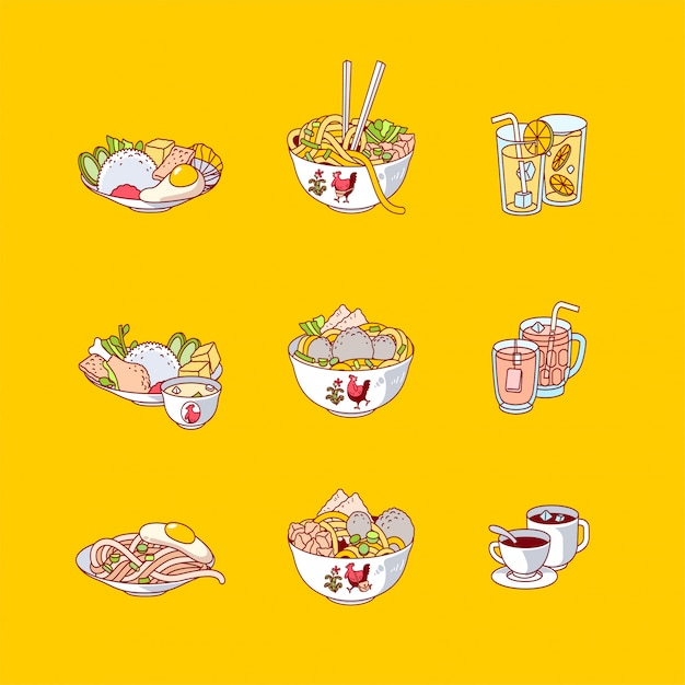 Premium Vector Flat Design Of Indonesian Food And Drink Icon Vector Illustration